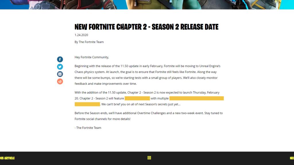 Na uitstel heeft Fortnite Chapter 2 Season 2 een release date 20 februari