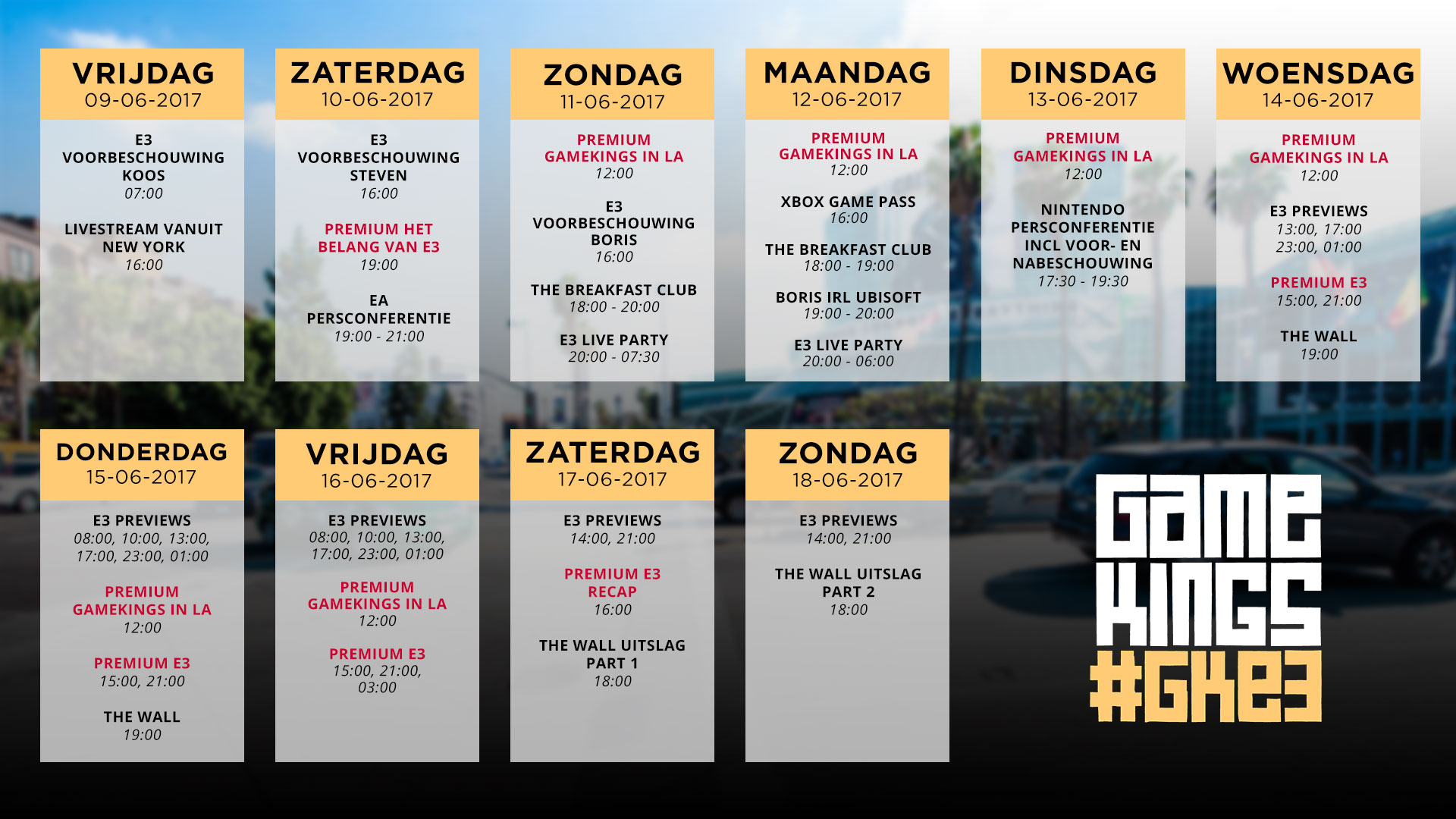 Gamekings E3 2017 Programma
