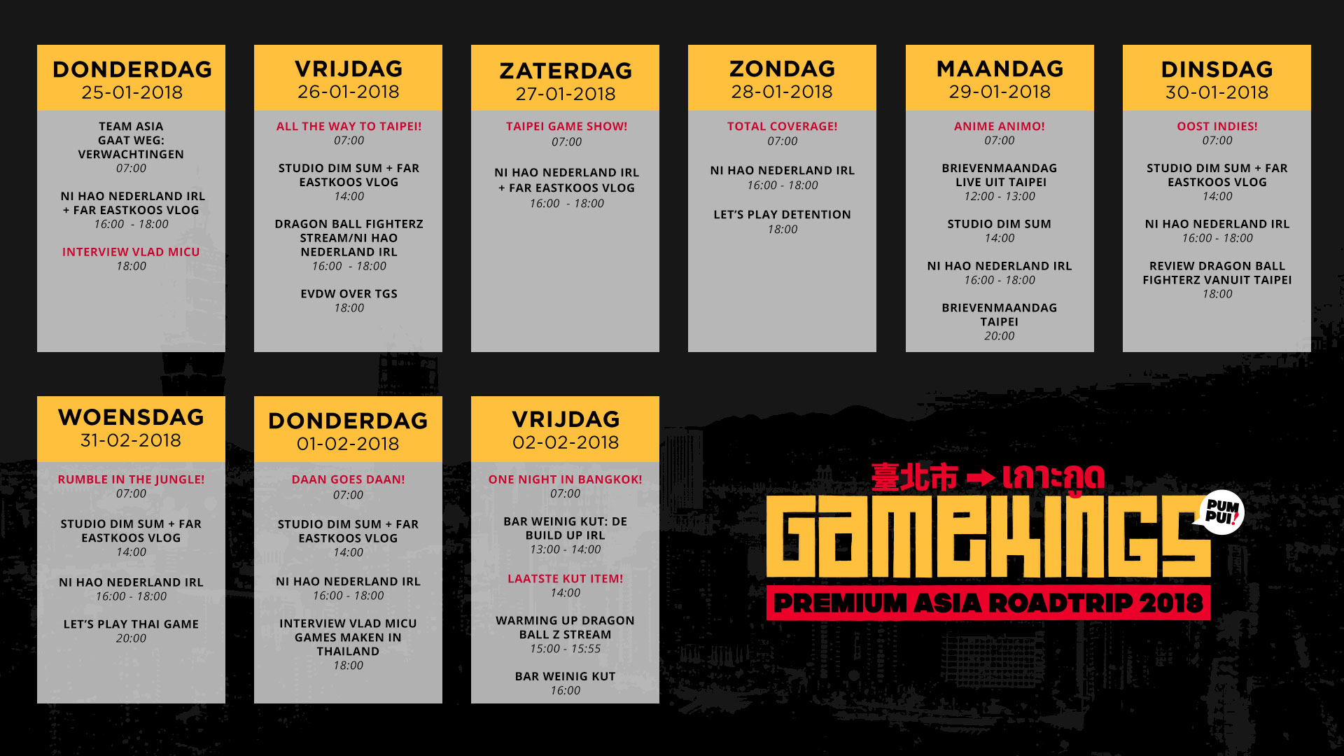 Gamekings Premium Asia Roadtrip 2018 Programma